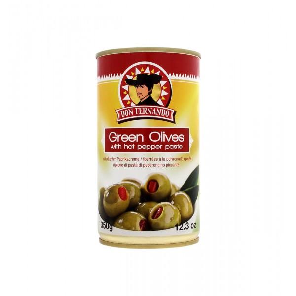 Πράσινες ελιές γεμιστές με καυτή πιπεριά 350g