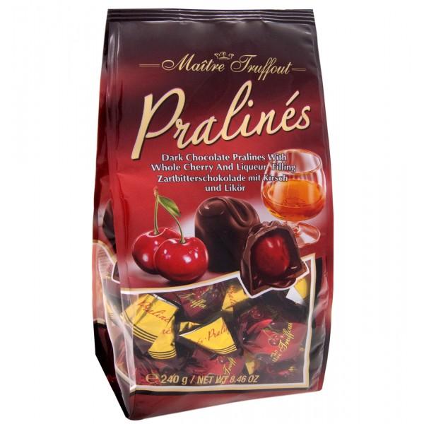 Πραλίνες σοκολάτα μαύρη με λικέρ κεράσι 4% vol. 240g